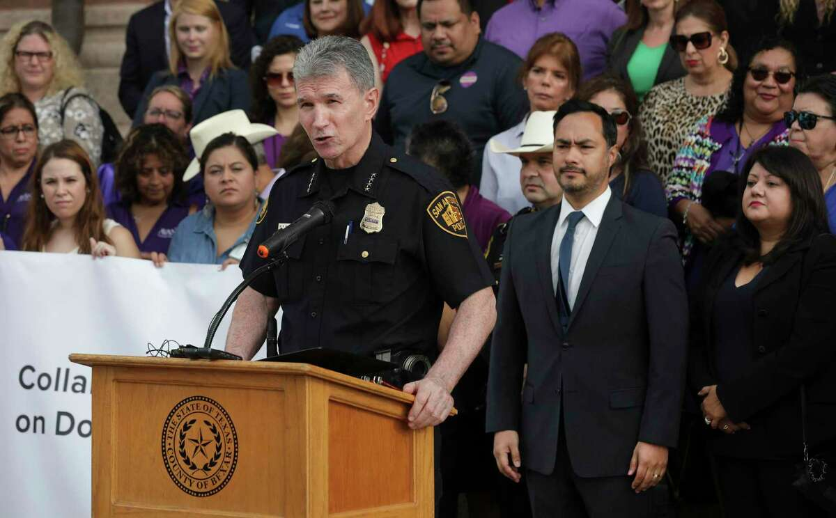 San Antonio Police Chief William McManus speaks during a news conference in August 2019. McManus will take part in a City of San Antonio town hall Wednesday night to discuss police services.