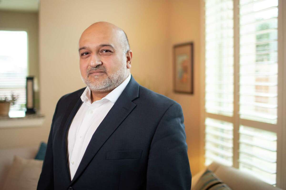 Dr. Hasan Gokal at his home, Thursday, Feb. 25, 2021, in Sugar Land. Gokal was fired from Harris County Public Health department where he was medical director for allegedly breaking protocol by administering COVID-19 vaccines that were about to expire to eligible people he found.
