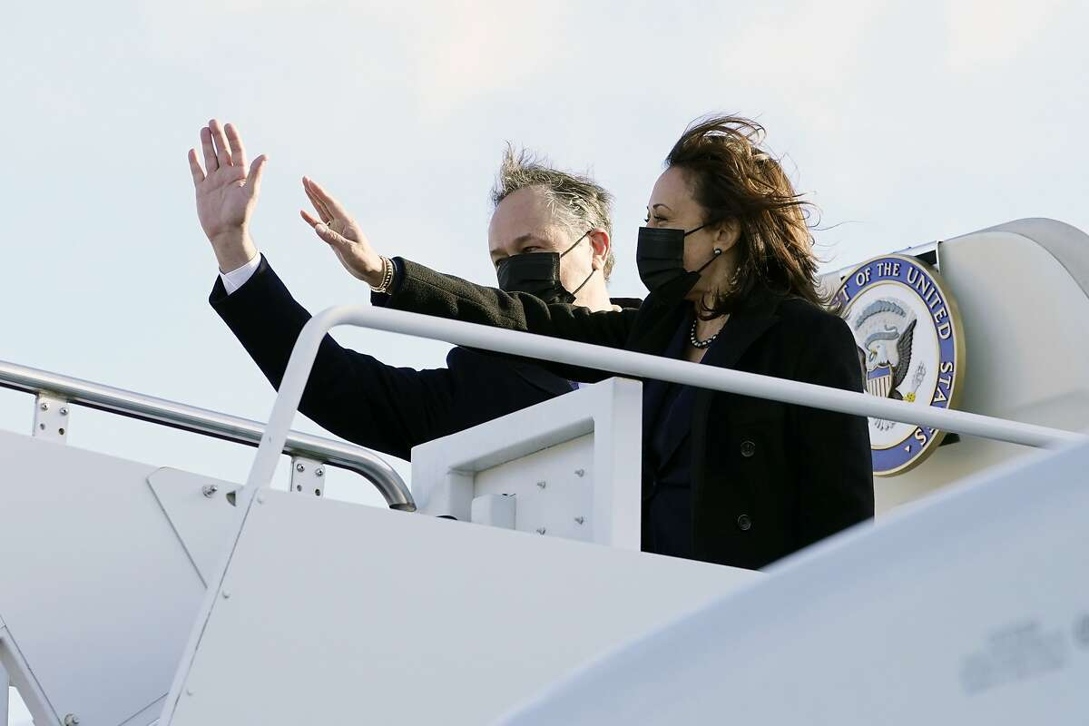 Vice President Kamala Harris and her husband, Doug Emhoff, board Air Force Two at Andrews Air Force Base in Maryland on March 15, 2021.