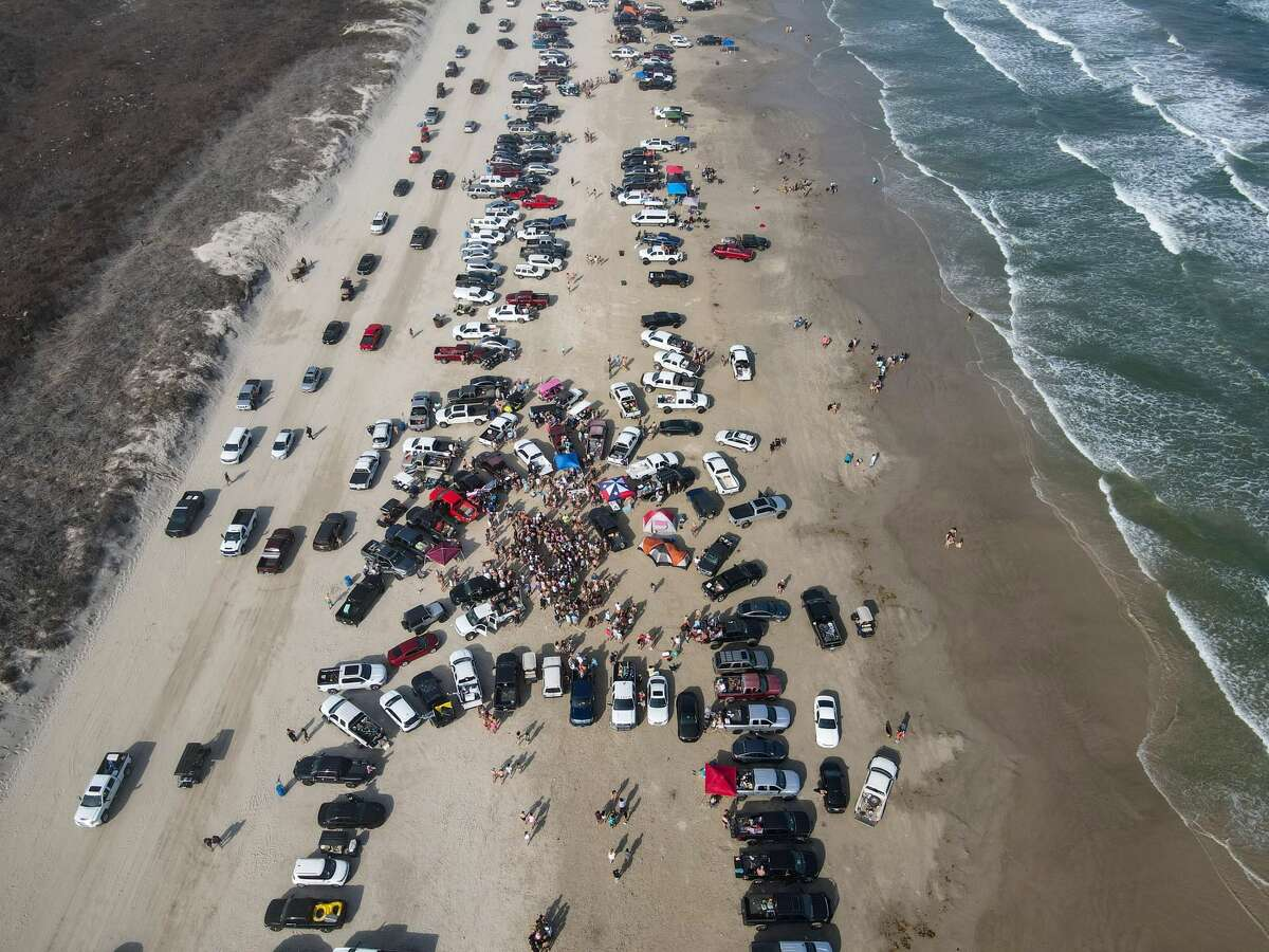 PORT ARANSAS Steve Coons took drone photos of the crowds at Port Aransas on Saturday, March 13.