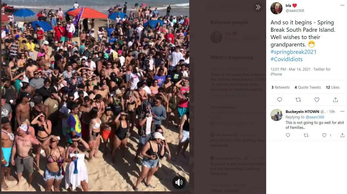 SOUTH PADRE ISLAND @aaarz368 tweeted a photo of what South Padre Island looked like last week. If you follow Clayton's Beach Bar and Grill (a bar at SPI) on Facebook, you'll see several videos and photos that back up @aaarz368 tweet of the Spring Breakers.