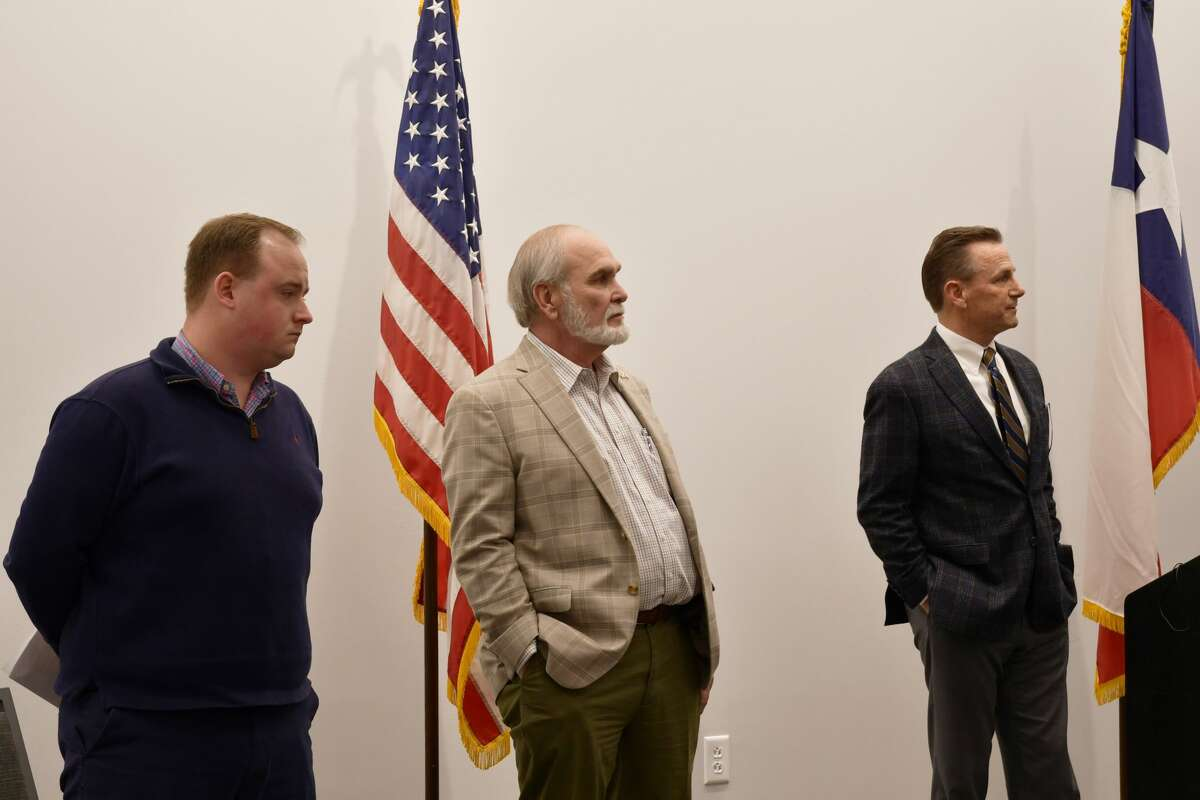 John Byers, chief of staff for Congressman August Pfluger, Midland County Judge Terry Johnson and Midland Mayor Patrick Payton speak at a press conference Monday, March 15, 2021, at the Bush Convention Center in reference to the opening of a holding facility for migrant juveniles in Midland County.