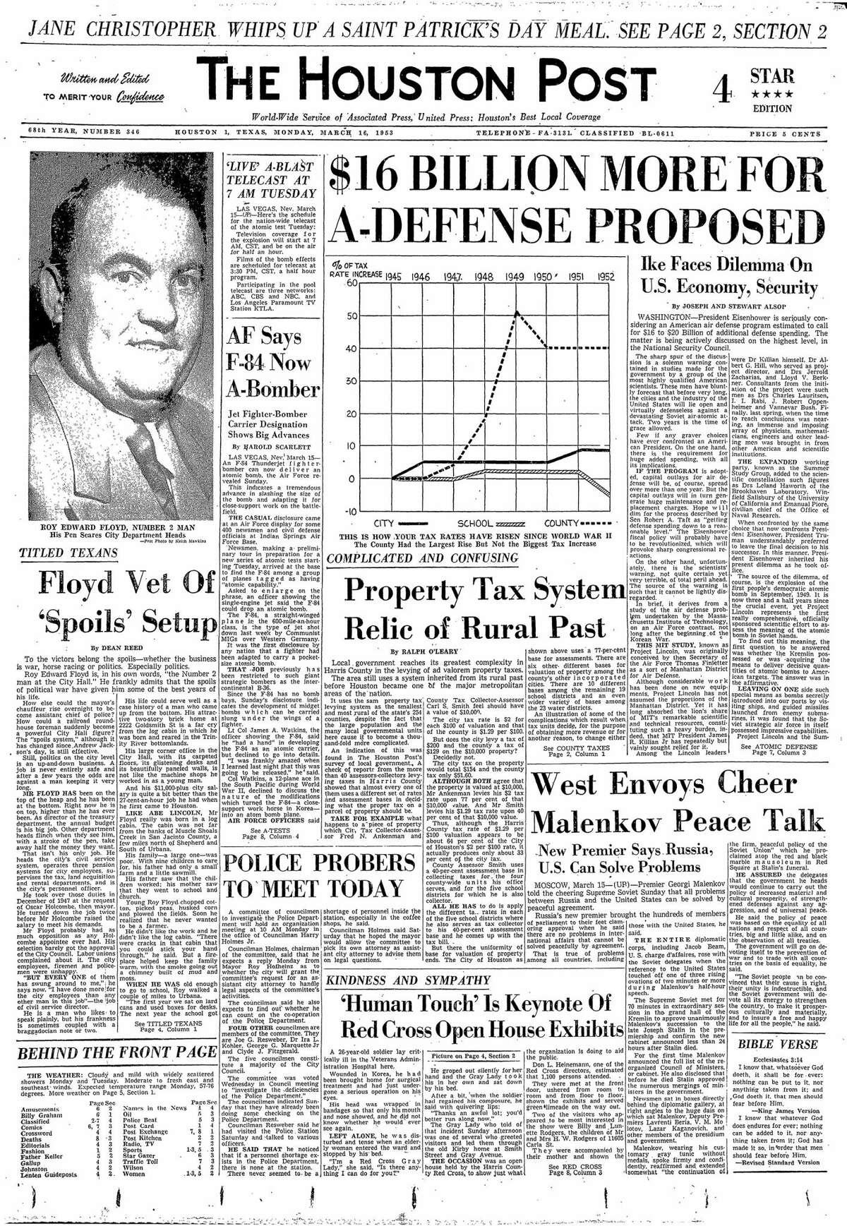 Houston Post, March 16, 1953.