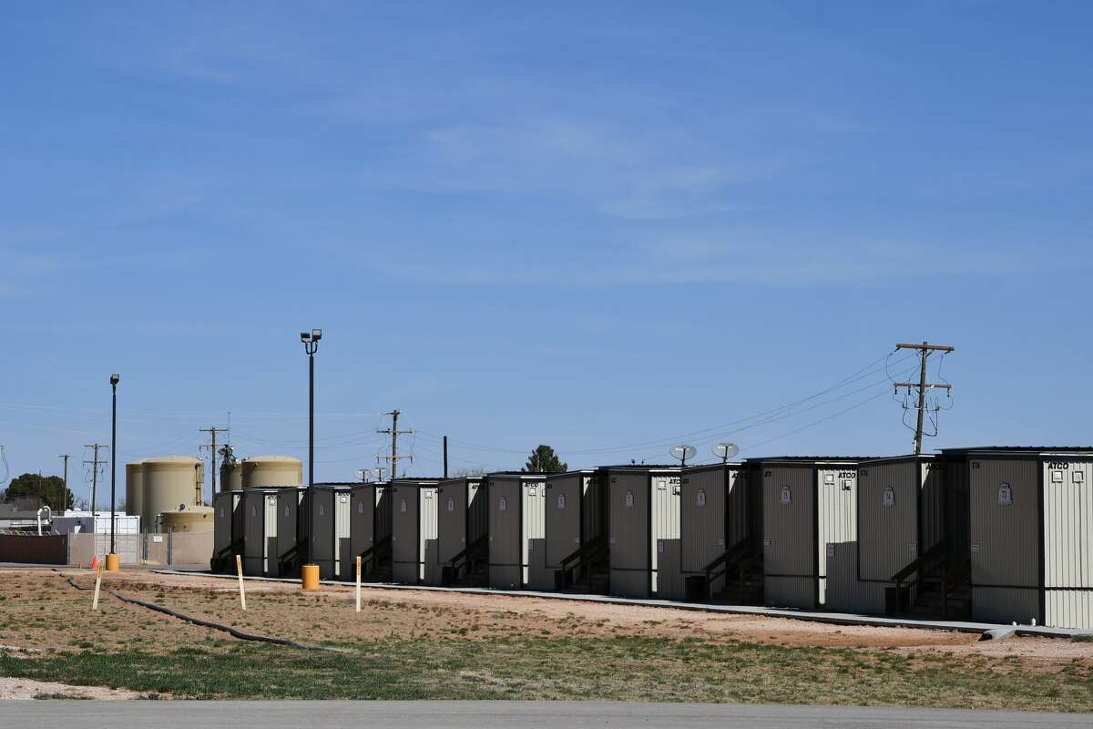 A holding facility opened Sunday, March 14, 2021, in Midland County that will house migrant juveniles from the southern border of the United States. (Mercedes Cordero/Midland Reporter-Telegram)