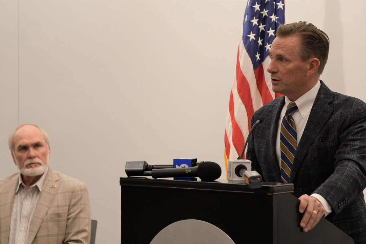 Midland Mayor Patrick Payton and Midland County Judge Terry Johnson spoke at a press conference at the Bush Convention Center Monday, March 15, 2021, in reference to the opening of a holding facility for migrant juveniles in Midland County. (Mercedes Cordero/Midland Reporter-Telegram )