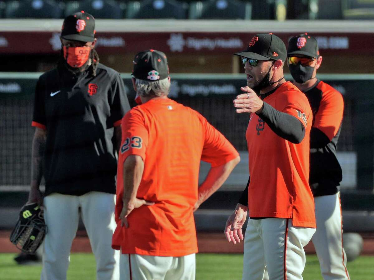 Giants manager Gabe Kapler (19) as the San Francisco Giants worked out at Scottsdale Stadium in Scottsdale, Ariz., on Tuesday, March 2, 2021.