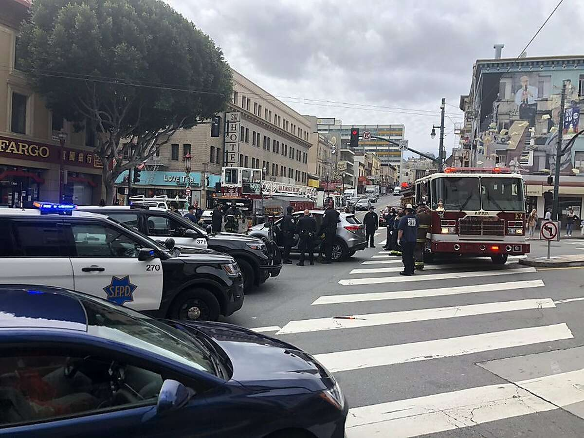 A car and a fire truck, seen here, collided in San Francisco's North Beach neighborhood Monday, sending the driver to the hospital.