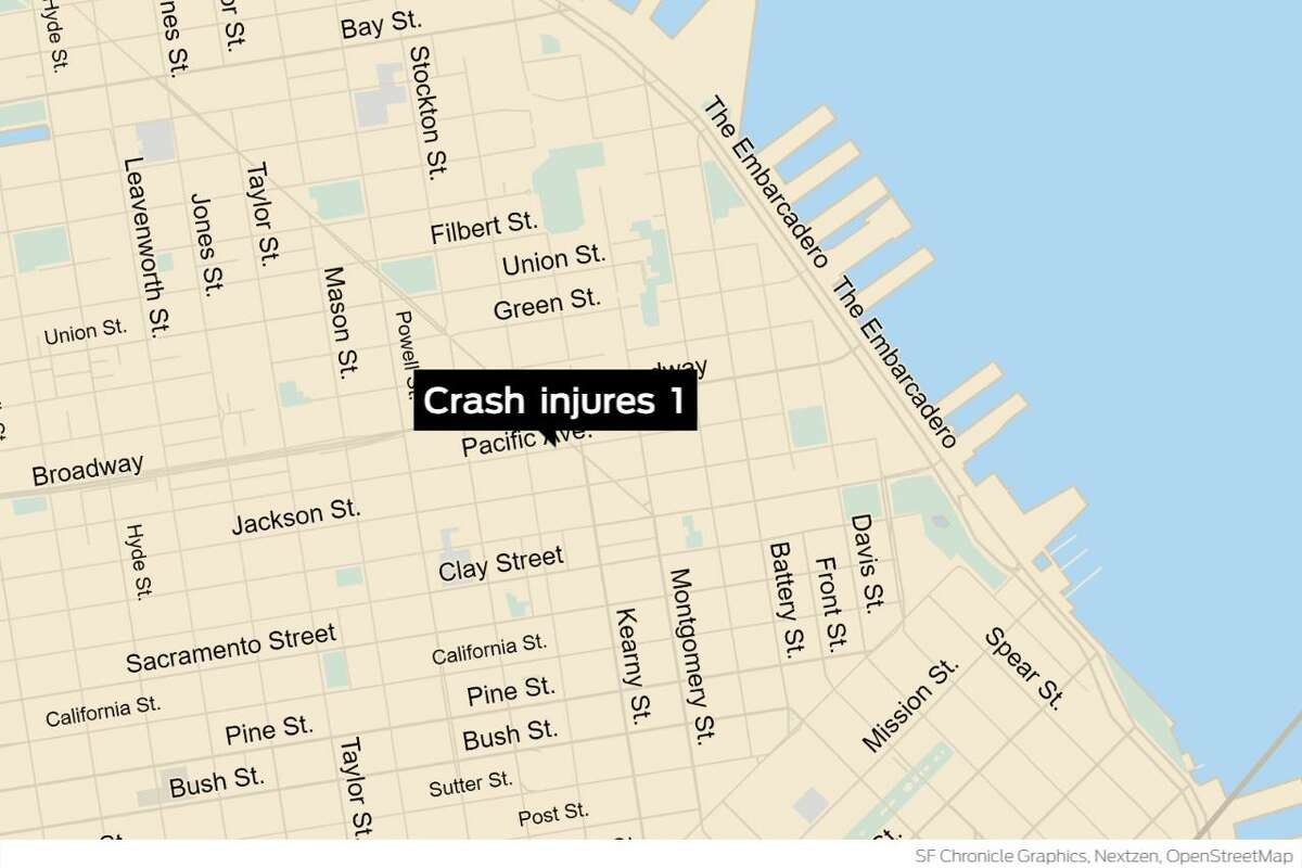 A driver was injured Monday following a car crash with a fire truck in San Francisco's North Beach neighborhood, authorities said.
