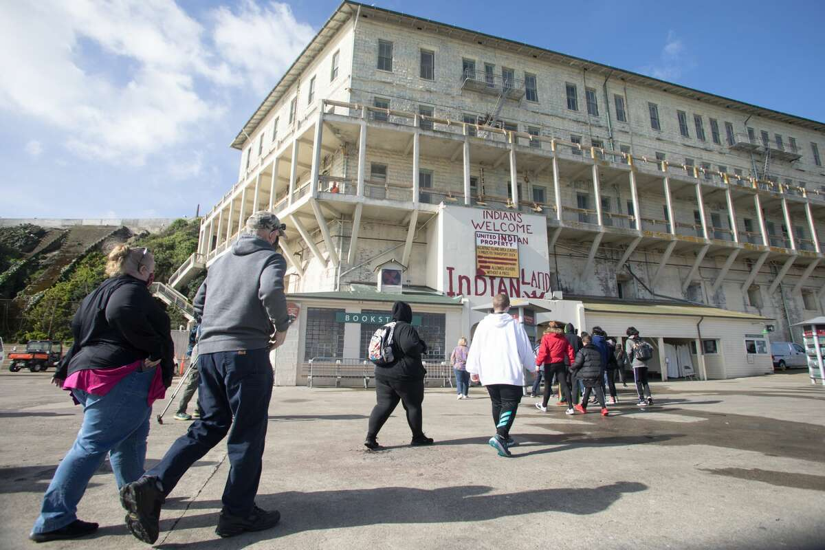 Visitors arrive on Alcatraz Island on March 15, 2021. The island and the prison house has reopened to visitors.