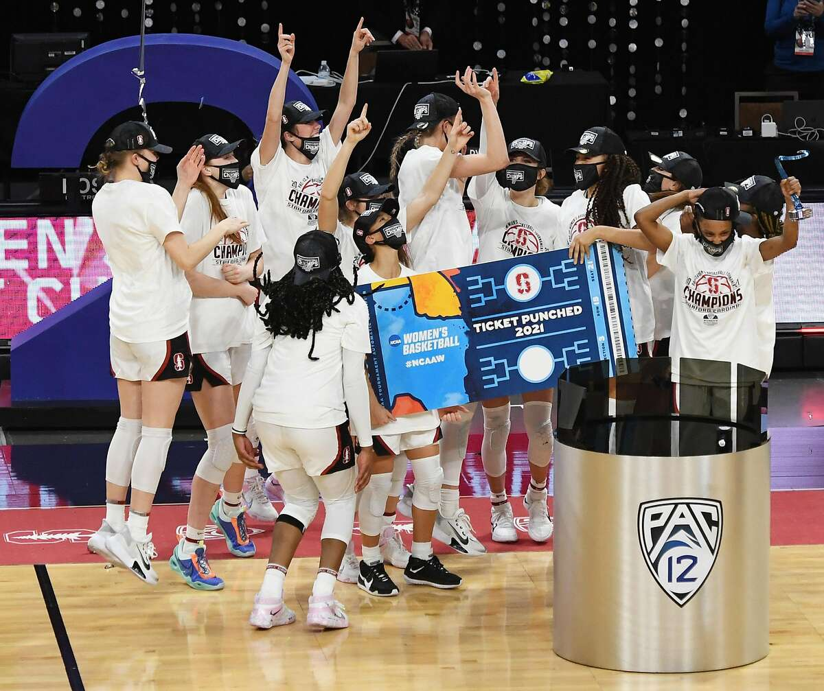 The Stanford Cardinal celebrate their 75-55 victory over the UCLA Bruins to win the championship game of the Pac-12 Conference tournament on March 7 in Las Vegas.