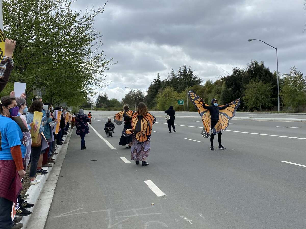 Demonstrators wore butterfly costumes during a protest at Moffett Field in Mountain View. The butterfly is often seen as a symbol of migration.