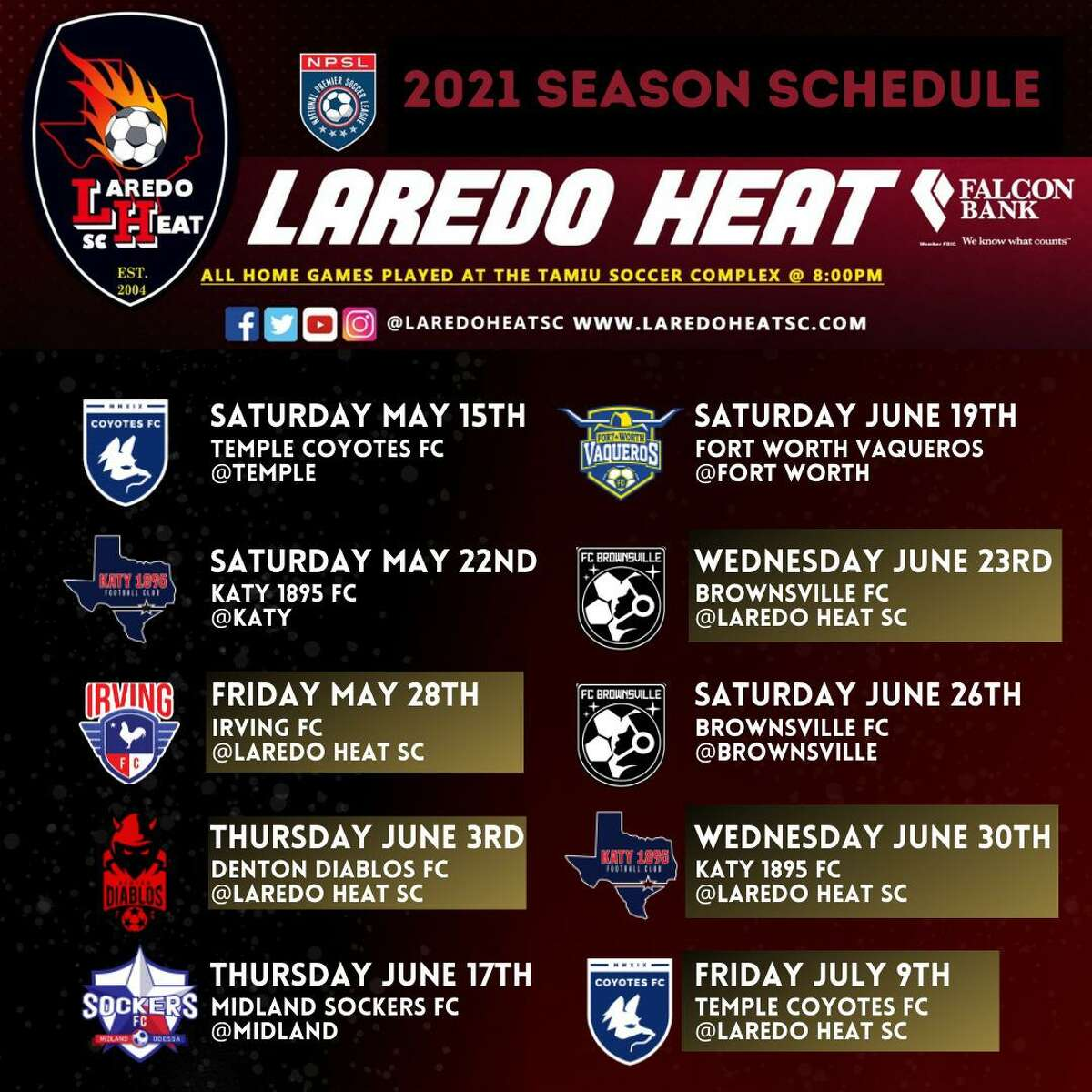The Laredo Heat announced their 2021 schedule on Monday.