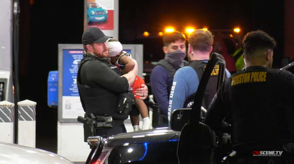 A 1-year-old boy was injured in a police shooting involving a suspected carjacker in Houston on March 3, 2021.