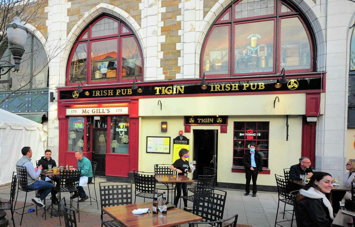 Tigin Irish Pub in Stamford, Conn., on Thursday Mar. 11, 2021. Irish pubs expect a much quieter St. Patrick's Day this year due to COVID-19.