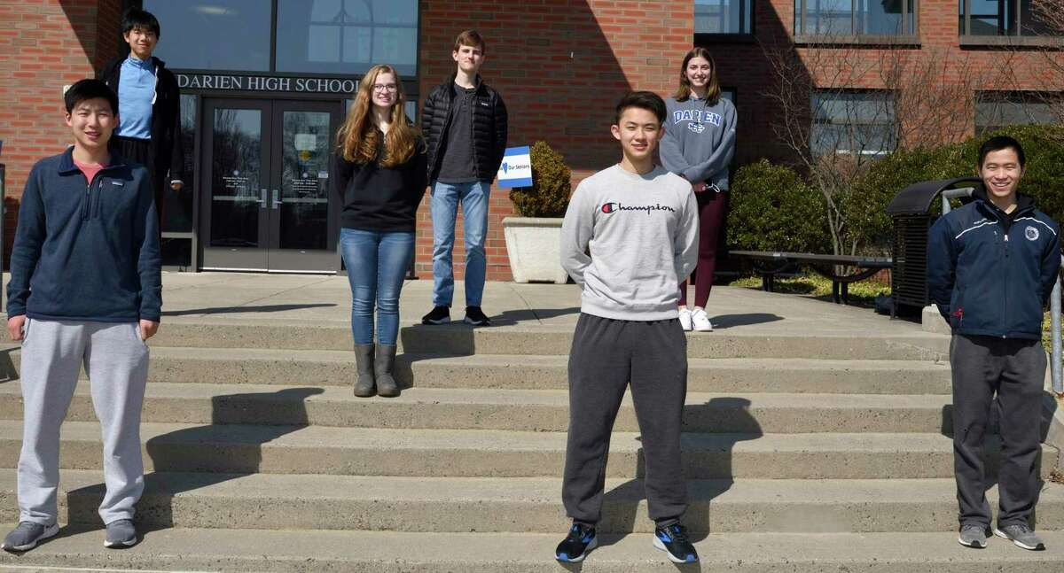 Seven Darien High School seniors have been selected as candidates for the U.S. Presidential Scholars Program. These students have been identified based on broad academic achievement, and having scored exceptionally well on the SAT, or ACT standardized college admissions tests. Top row left to right are: Nicholas Liu, Eleanor Chase, Alexander DelVecchio, and Christina Pizzani. Bottom row left to right are: Ethan Zhang, Vincent Xu and Alexander Oh.