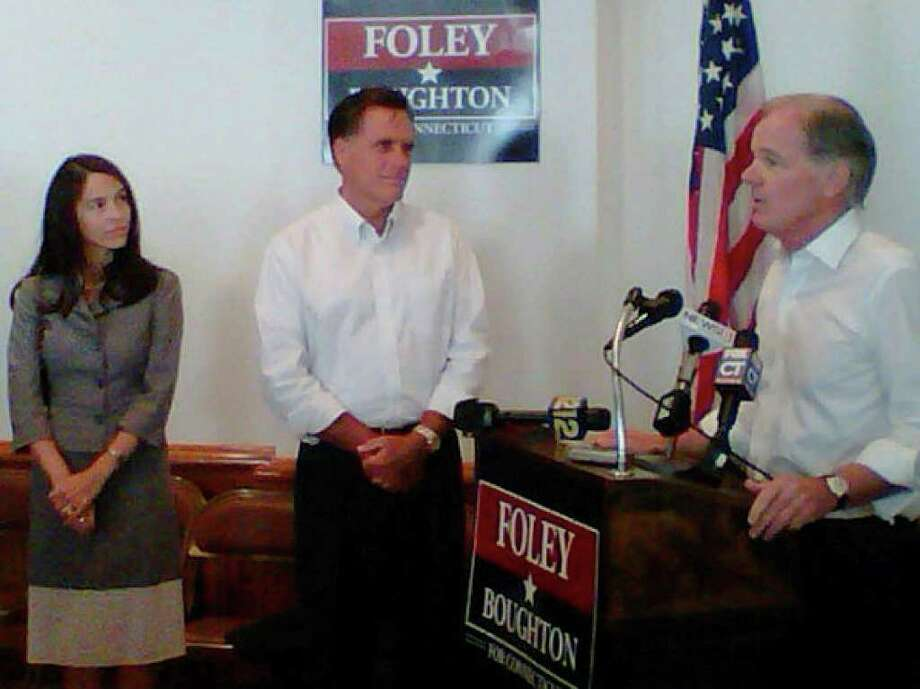 Tom Foley, right, speaks to supporters in Greenwich after being introduced by former Massachusetts governor and Republican presidential candidate Mitt Romney. Photo: Contributed Photo / Greenwich Time Contributed