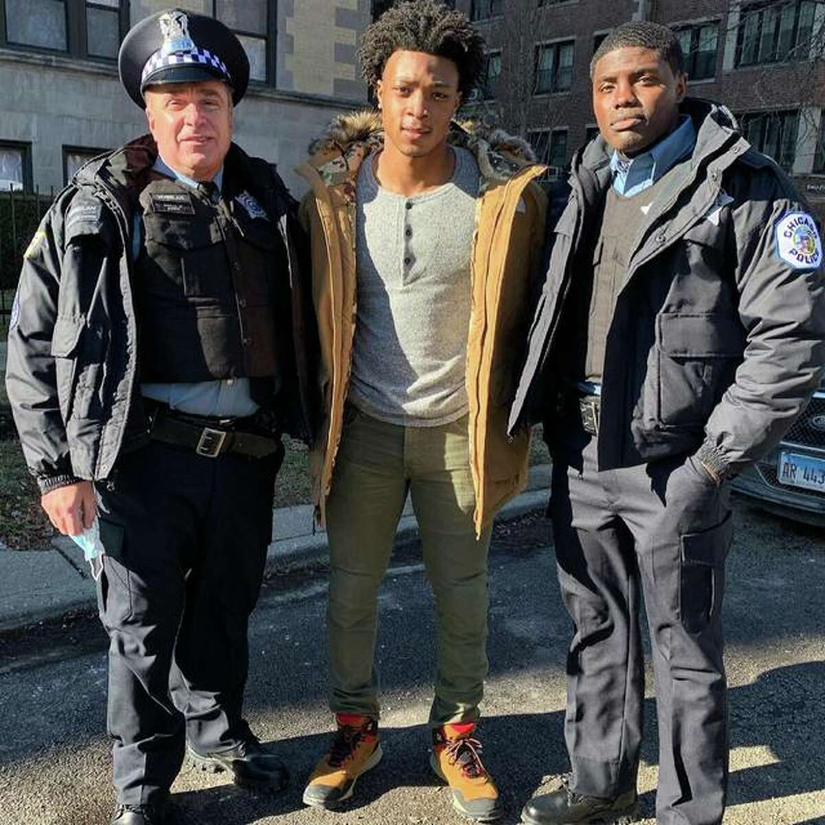 Edwardsville High School graduate Shawn Roundtree Jr., center, pictured with Michael Rispoli, left, and castmate from their scene in Chicago P.D.