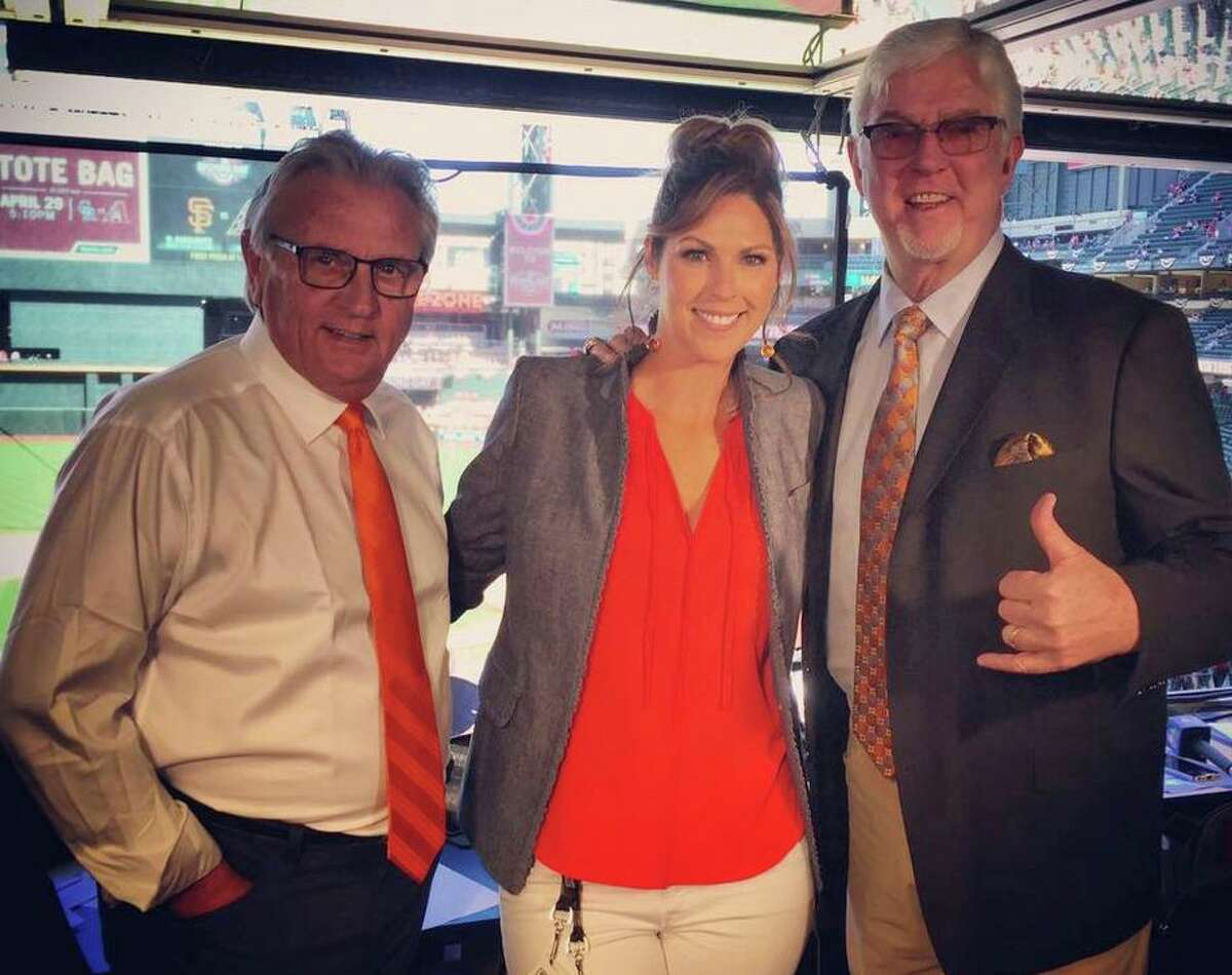 Amy Gutierrez (center) has been on the broadcast team with Duane Kuiper (left) and Mike Krukow for 13 years, but was employed by NBC Sports Bay Area, not the Giants.