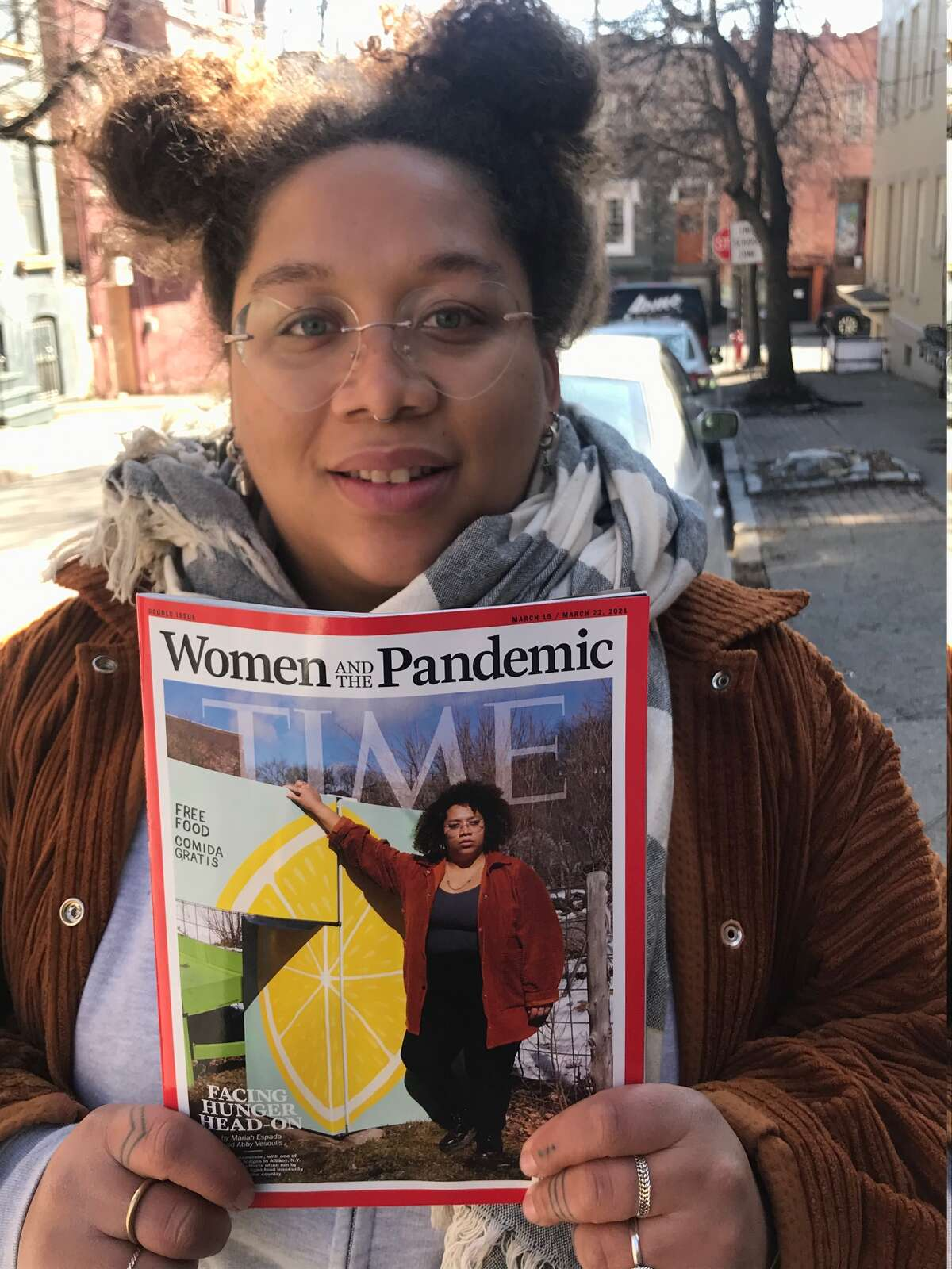 Jammella Anderson, founder of the Free Food Fridge Albany project, was featured on the cover of Time magazine. (Paul Grondahl /Special to the Times Union)