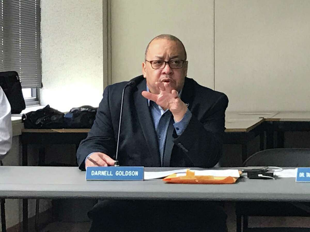 New Haven Board of Education member Darnell Goldson on March 2, 2020.