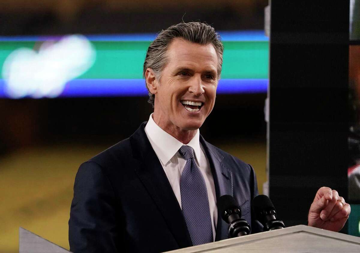 California Gov. Gavin Newsom delivers his State of the State address Tuesday, March 9, 2021, from Dodger Stadium in Los Angeles. Newsom and his Democratic allies launched a political committee Monday, March 15, to stop a proposed recall election that could oust him from office.