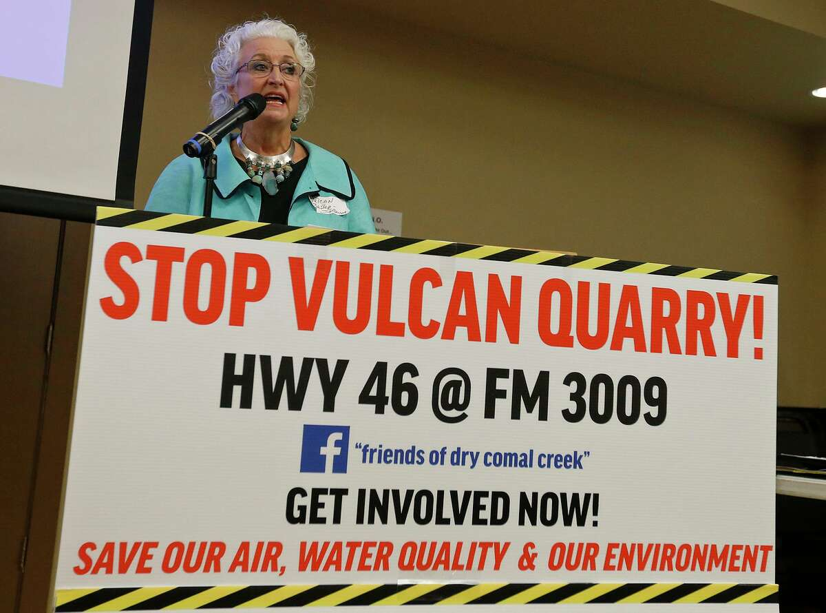 Sabrina Houser Amaya speaks during the Friends of Dry Comal Creek community awareness meeting held Thursday Oct. 5, 2017 at the Bulverde-Spring Branch Activity Center in Bulverde, TX. The meeting was on Vulcan Materials Company's application for an air quality permit from the Texas Commission on Environmental Quality (TCEQ), for a rock crushing quarry at the intersection of Highway 46 and FM 3009 in Comal County.