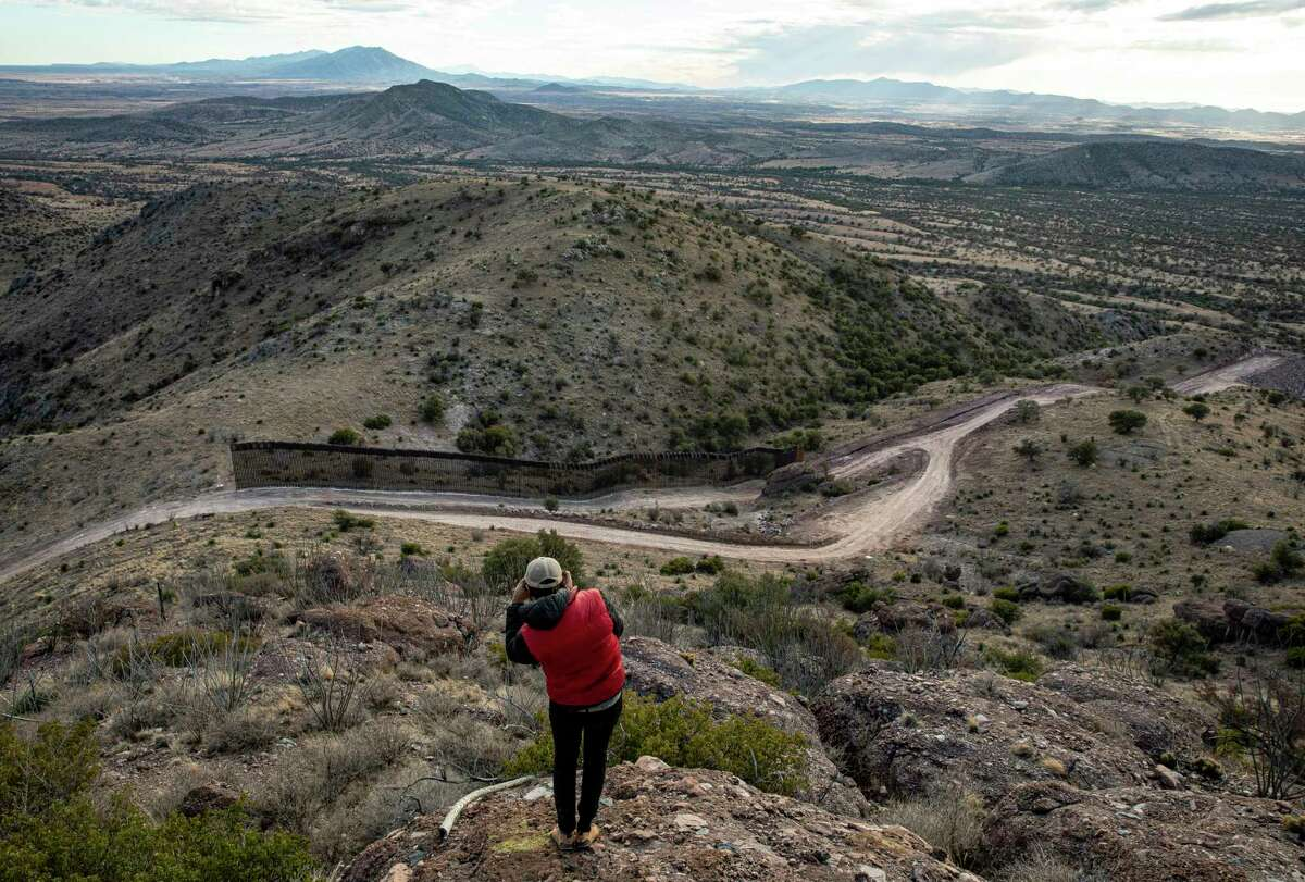 The unfinished border wall at the Coronado National Monument in Arizona, Feb. 10, 2021. A last-minute rush to build the border wall lasted through President Donald Trump's last day in office. The effort left odd, partially completed sections of a barrier whose fate President Biden must now determine. (Adriana Zehbrauskas/The New York Times)