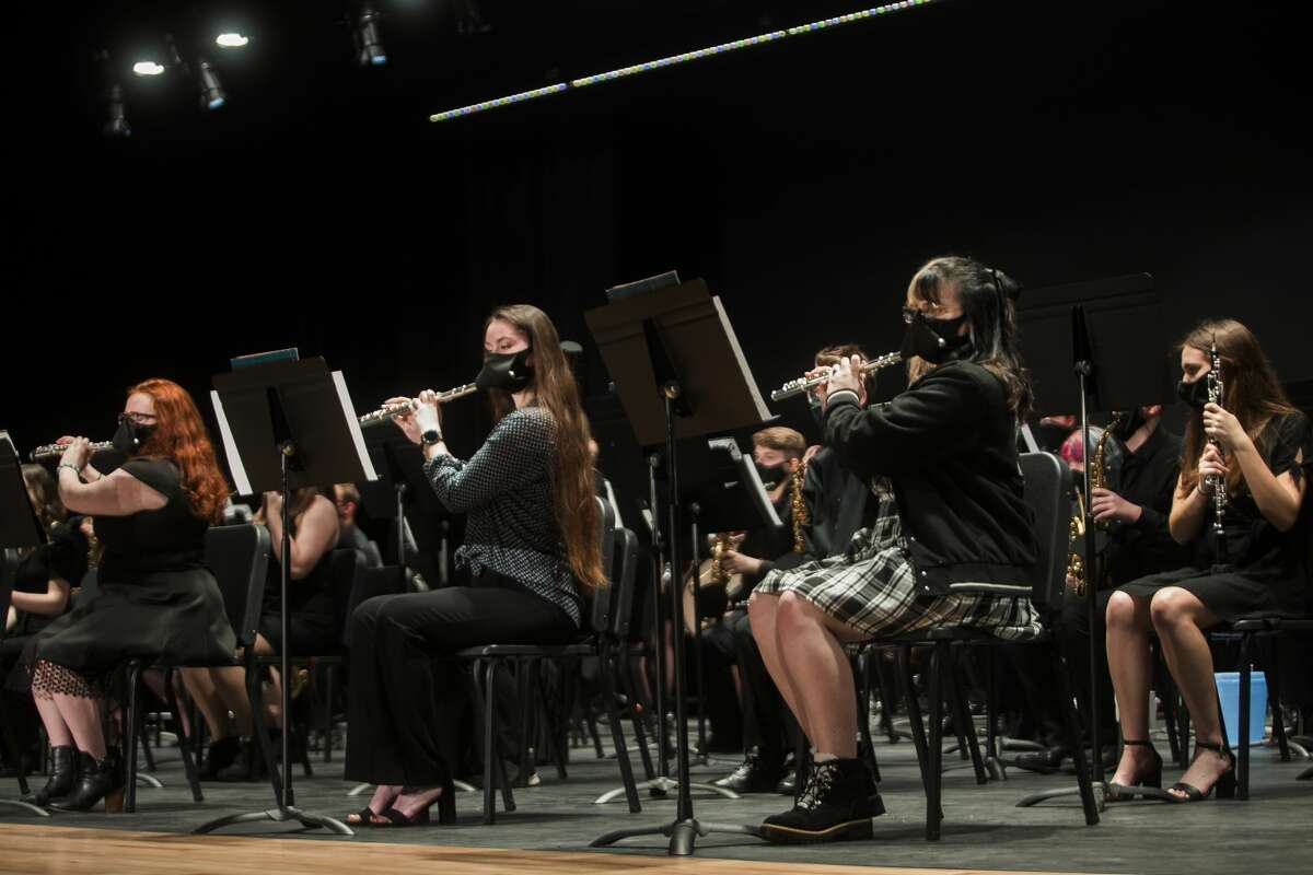 The Meridian Early College High School Symphonic Band performs during a band concert Monday, March 15, 2021 at the newly finished auditorium at the school in Sanford. (Katy Kildee/kkildee@mdn.net)