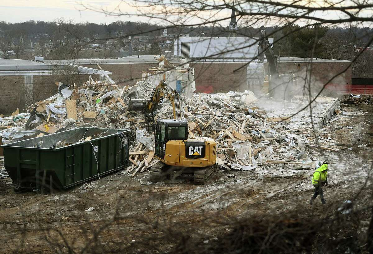 Demolition continues on the portable classrooms behind Jefferson School in Norwalk Conn. on Tuesday, March 16, 2021.