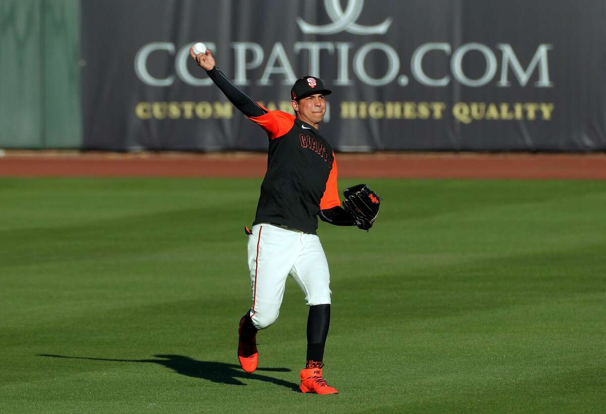 Mauricio Dubon (1) as the San Francisco Giants worked out at Scottsdale Stadium in Scottsdale, Ariz., on Tuesday, March 2, 2021.