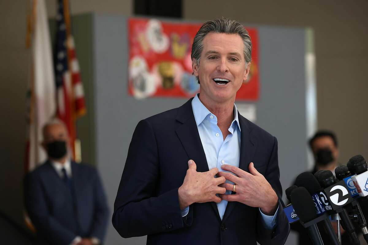 Gov. Gavin Newsom speaks during a news conference in Alameda on Wednesday.