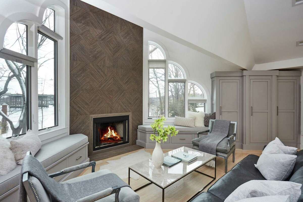 Master bedroom sitting area with fireplace at 1 Imperial Landing, Westport.