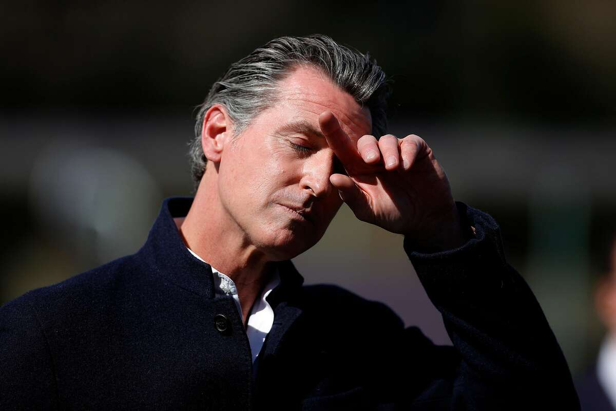 California Gov. Gavin Newsom pauses during a news conference after touring Barron Park Elementary School on March 02, 2021 in Palo Alto, California.