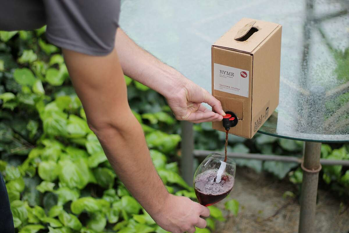 Ryme's Sangiovese Friulano, a bag-in-box wine, sells for $65 and holds the equivalent of four bottles of wine.