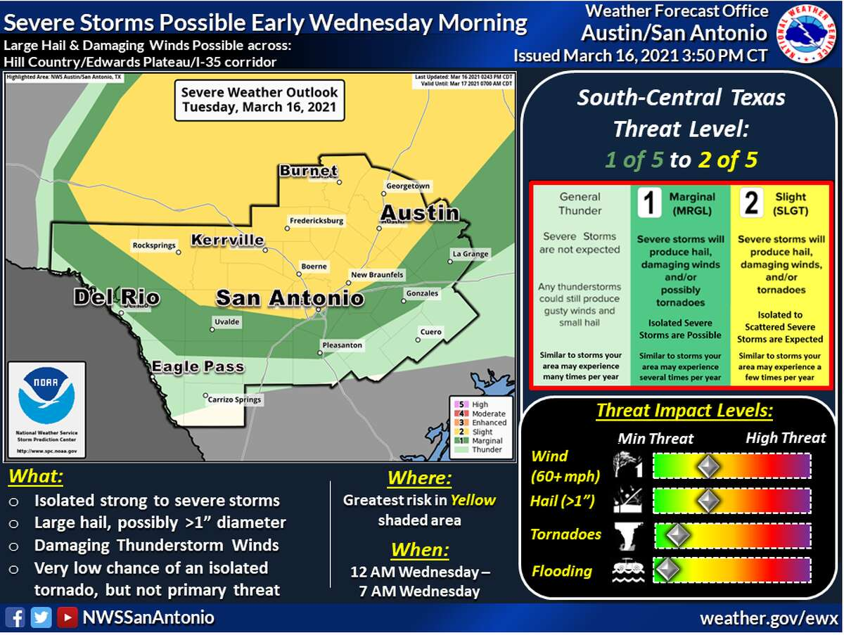 Potential severe weather is headed for the San Antonio area.