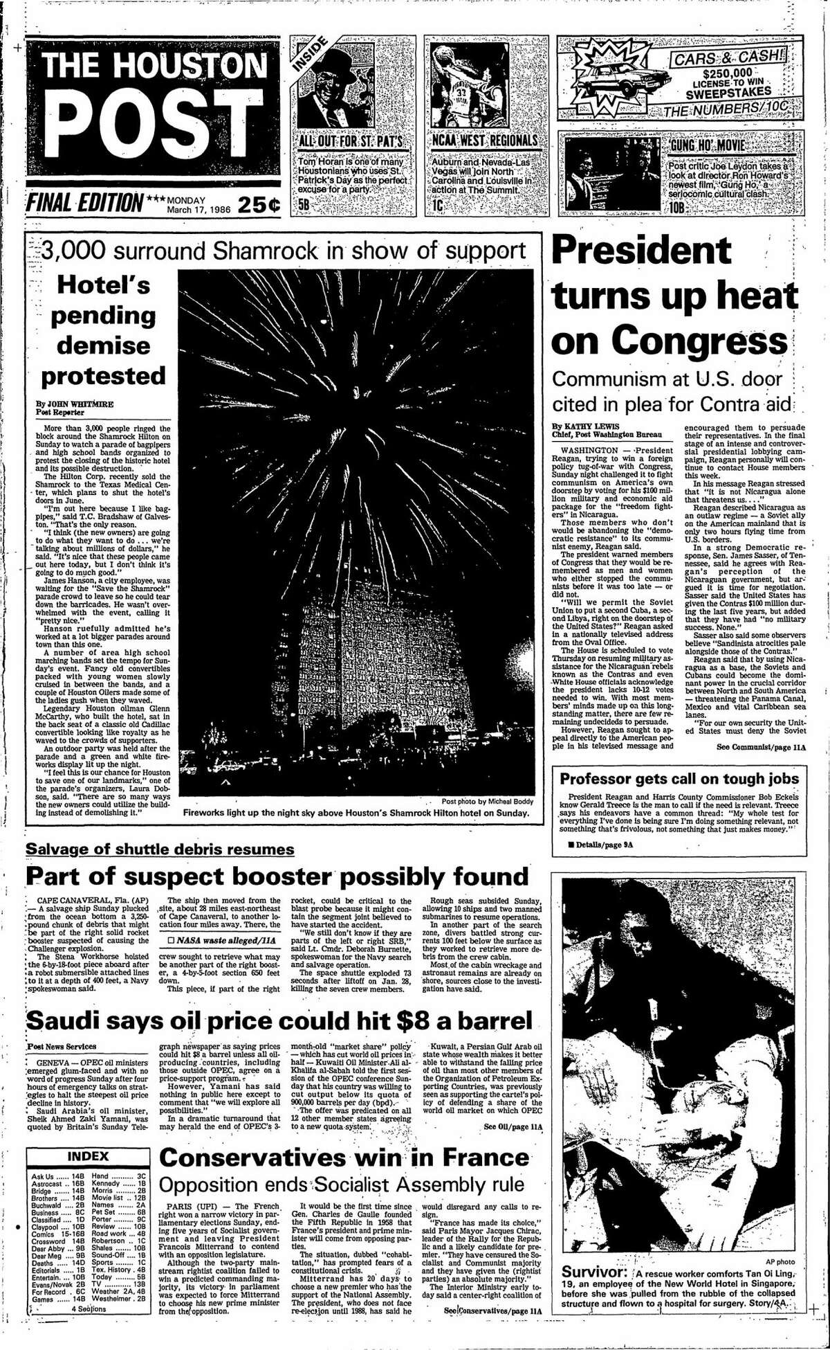 Houston Post front page from March 17, 1986.