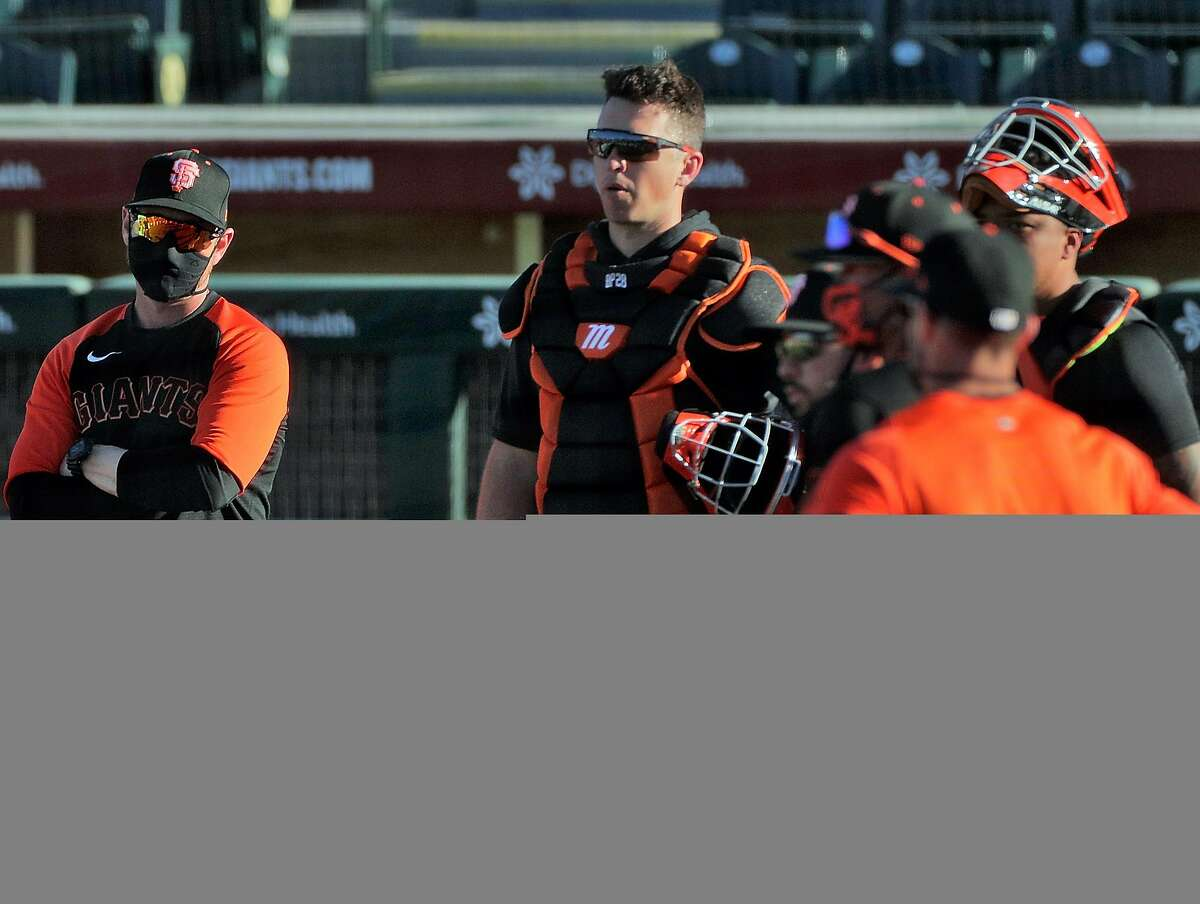 Buster Posey (28) as the San Francisco Giants worked out at Scottsdale Stadium in Scottsdale, Ariz., on Tuesday, March 2, 2021.