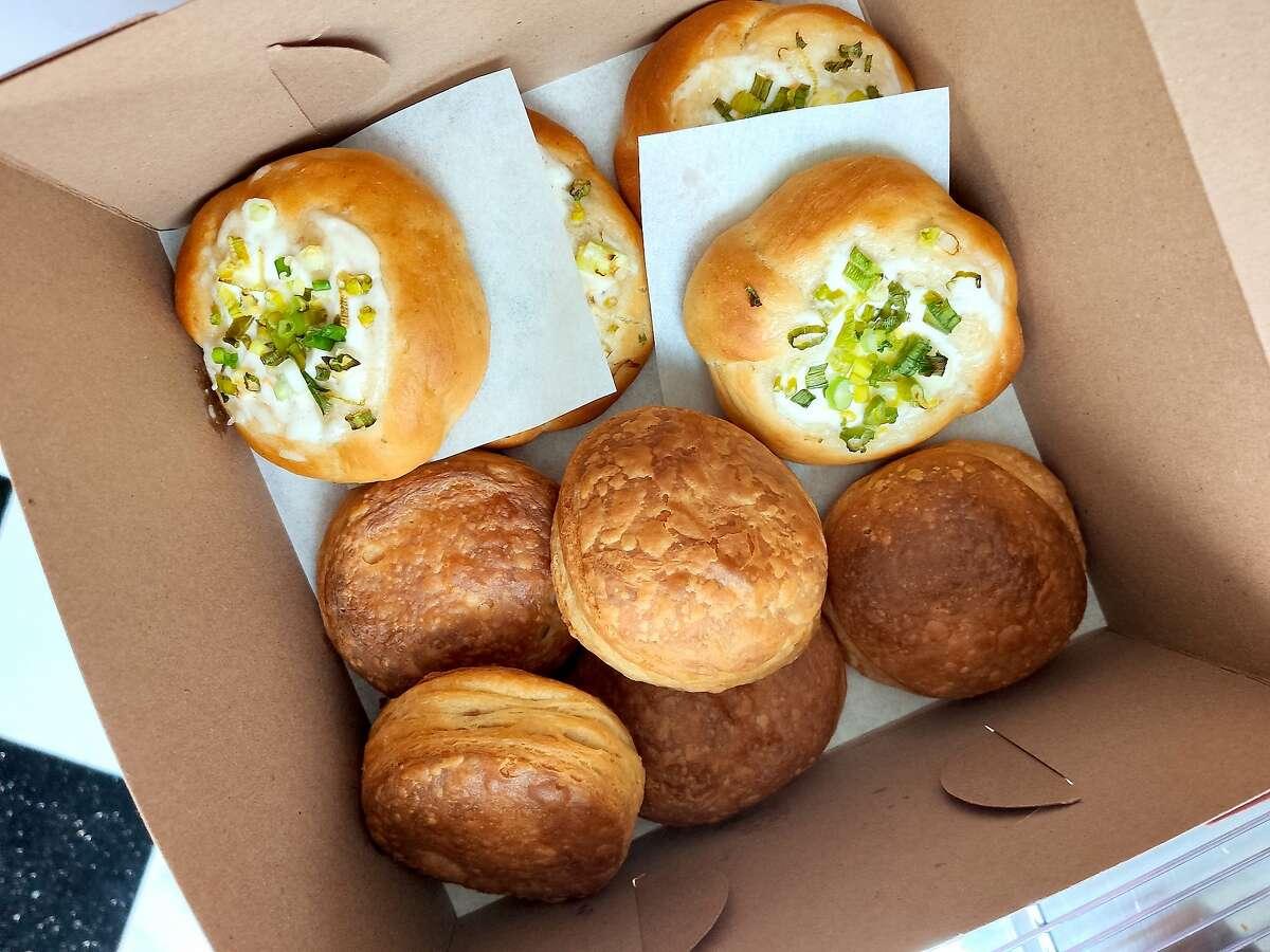 A box of vegan Hong Kong-style buns from Tai Zhan Bakery in Los Gatos.