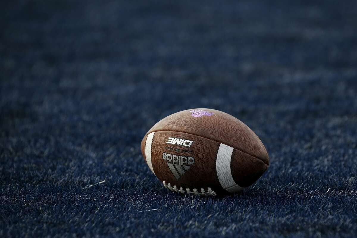 HOUSTON, TX - AUGUST 25: A general view of a football in the end zone during the game between the Rice Owls and the Prairie View A&M Panthers at Rice Stadium on August 25, 2018 in Houston, Texas. (Photo by Tim Warner/Getty Images)