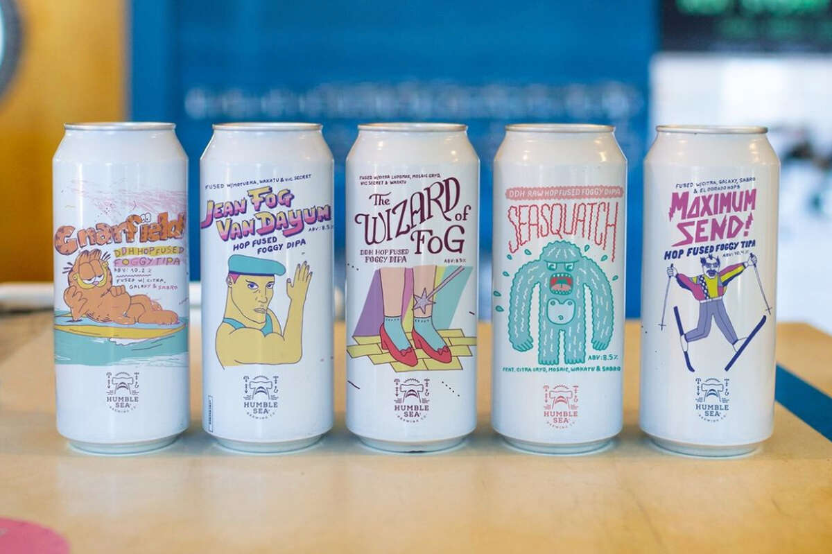 A look at some of Humble Sea Brewing's most popular cans. During the pandemic, the Santa Cruz brewery has shifted entirely to shipping cans of beer, doubling its output on the year despite COVID-19.