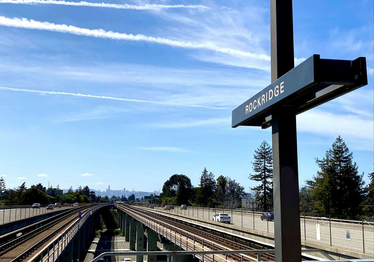 Views from the Rockridge BART station in Oakland on March 16, 2021.