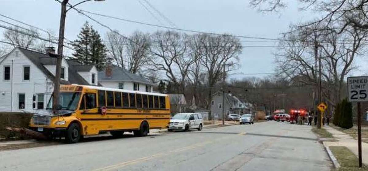NEW LONDON, Conn. - Police said there were no injuries after a school bus collided with a utility pole Tuesday, March 16, 2021.