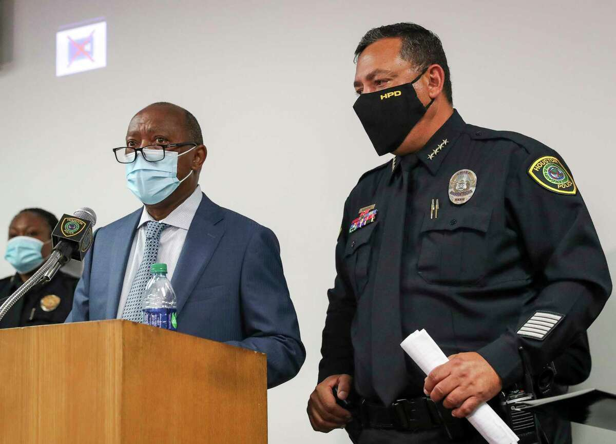 Houston Mayor Sylvester Turner and Houston Police Chief Art Acevedo speak about the shooting death of Nicolas Chavez during a press conference Thursday, Sept. 10 2020, at HPD headquarters in Houston. Chavez was shot and killed April 21 by several police officers during a confrontation in Denver Harbor.