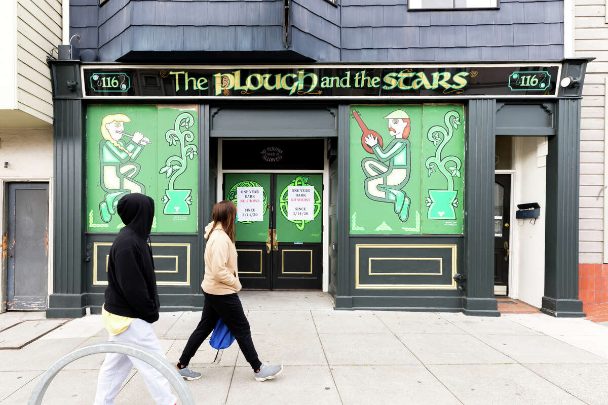 The Plough and the Stars sits empty and quiet as it has remained shut for an entire year, after San Francisco closed down bars during the shelter-in-place order in March 2020.