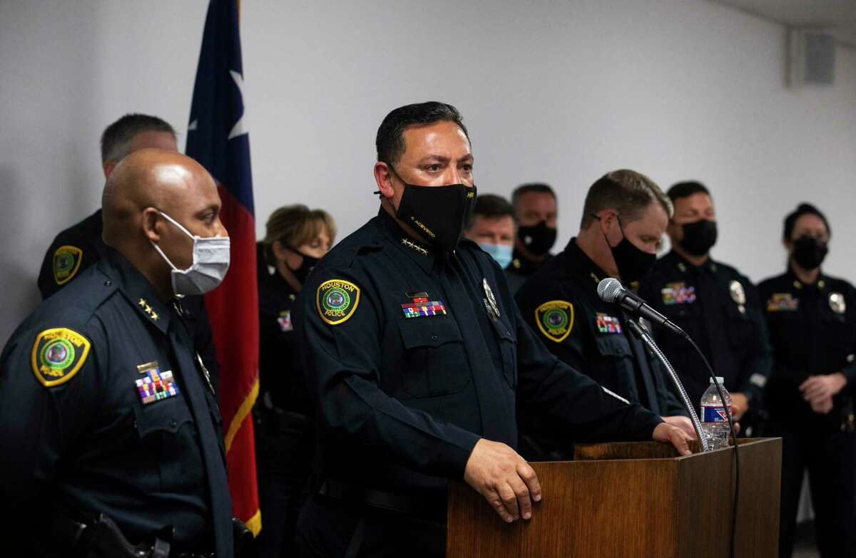 Houston Police Chief Art Acevedo gets frustrated when the press ask him about the increasing murder cases in the city during a press conference about him leaving Houston for the same position at Miami Police Department Tuesday, March 16, 2021, in Houston. Acevedo said the court and crminal justice systems were part of the problems of the increasing murder cases. He was joined by his executive team, including executive assistant chiefs Troy Finner, left, and Matt Slinkard.