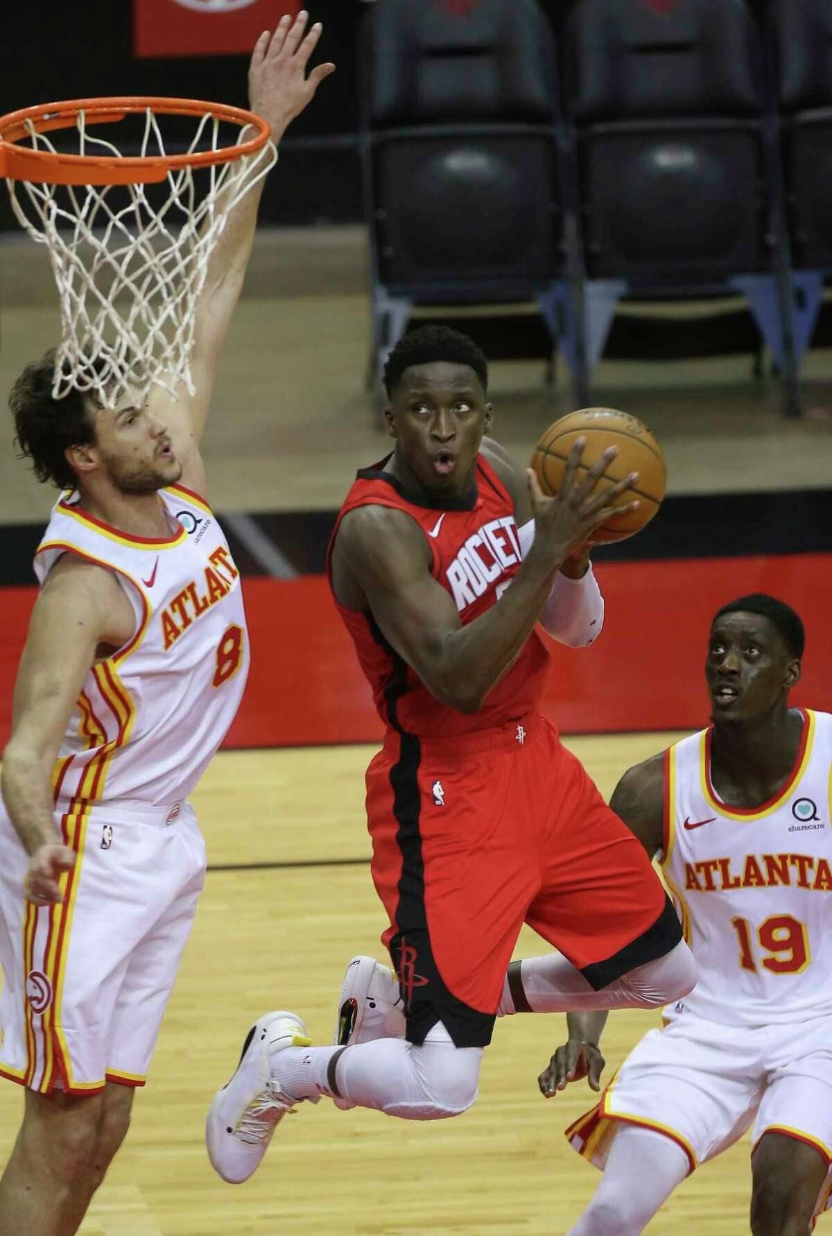 Houston Rockets guard Victor Oladipo (7) goes for the basket during the fourth quarter of the NBA game against the Atlanta Hawks Tuesday, March 16, 2021, at Toyota Center in Houston.