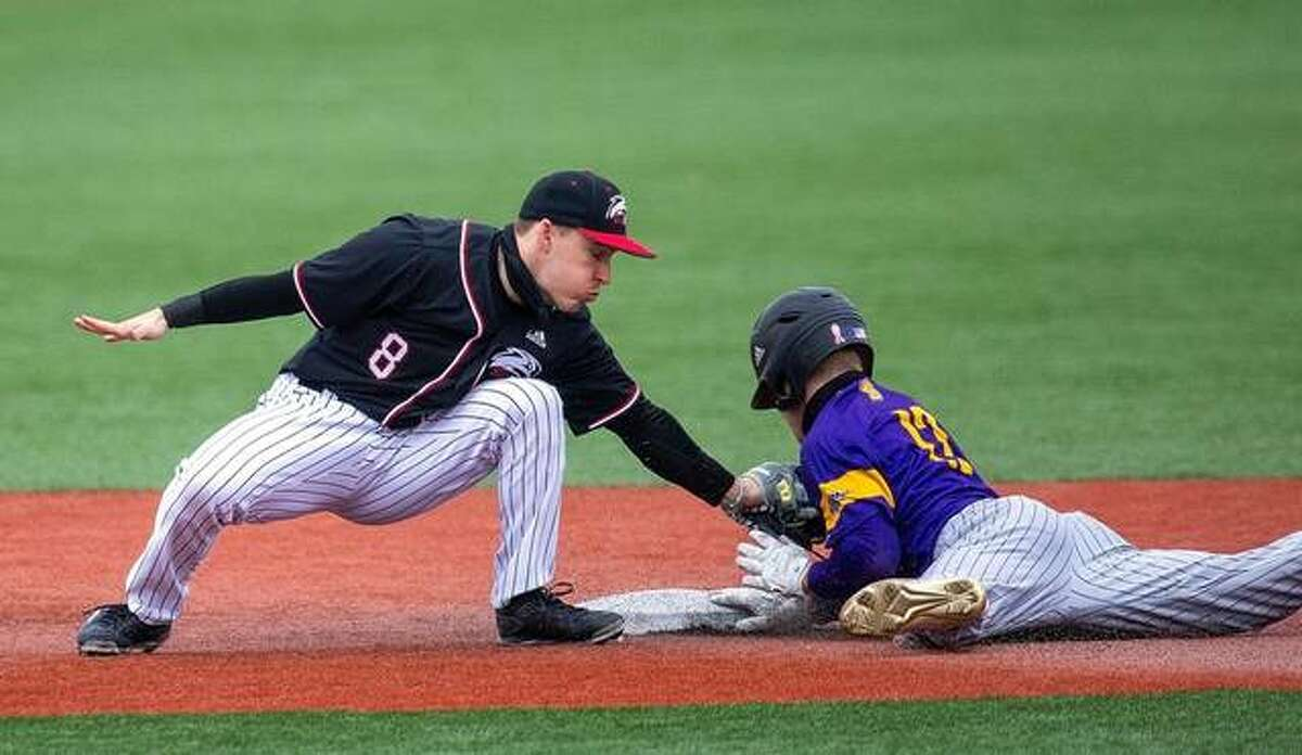 SIUE infield Ethan Copeland applies a tag to a Western Illinois runner at second base during Tuesday's game in Edwardsville.