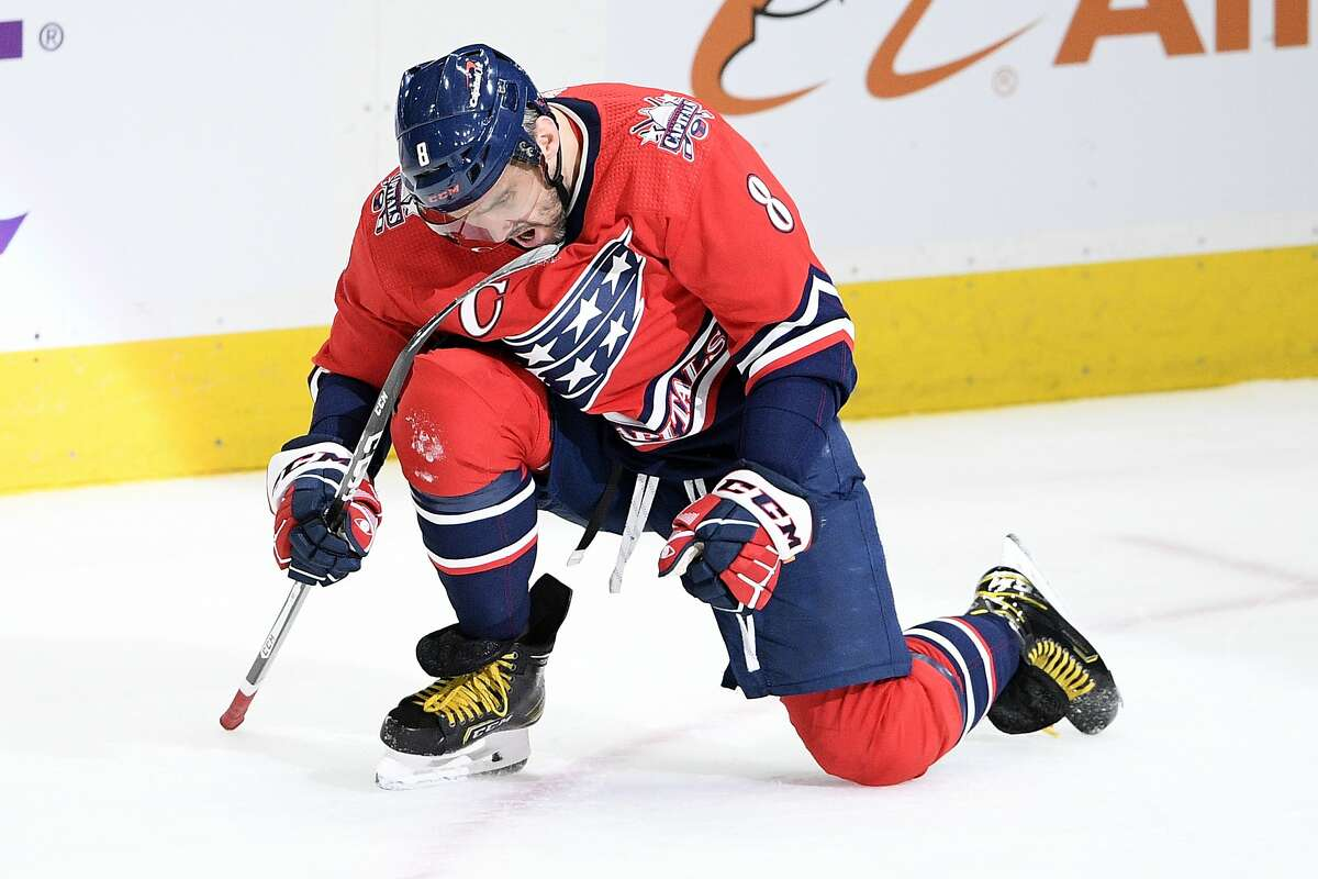 Alex Ovechkin celebrates career goal 718, moving him past Phil Esposito into sixth place on the all-time NHL list.