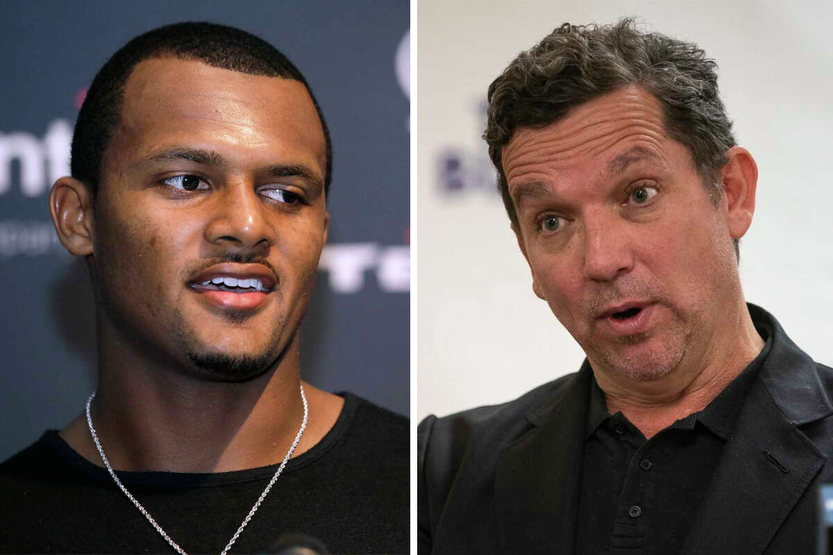 Texans quarterback Deshaun Watson and former Houston mayoral candidate Tony Buzbee are pictured together in this composite photo.