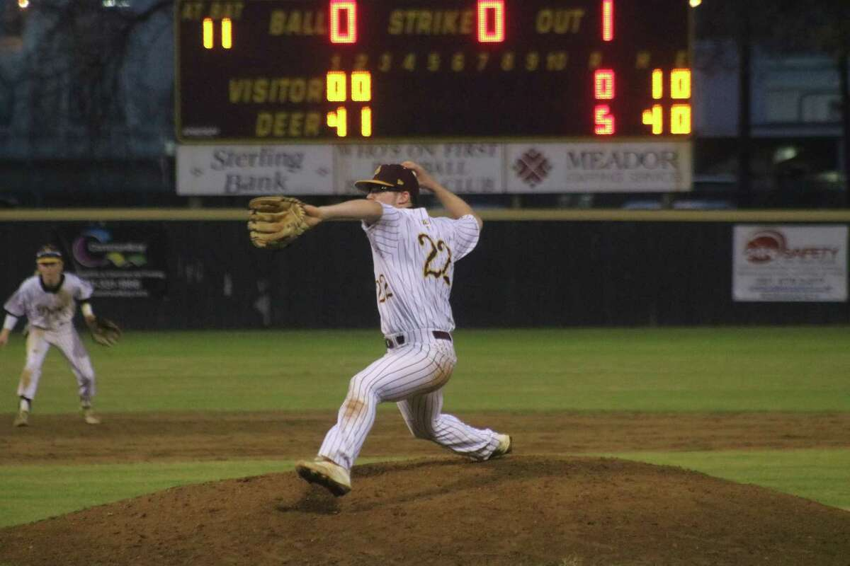 With a five-run cushion, Blake Michalsky delivers to the plate Tuesday night. Michalsky finished with a two-hit, six inning shutout. In the background is shortstop Wyatt Woodall, who was responsible for one out in all six innings.